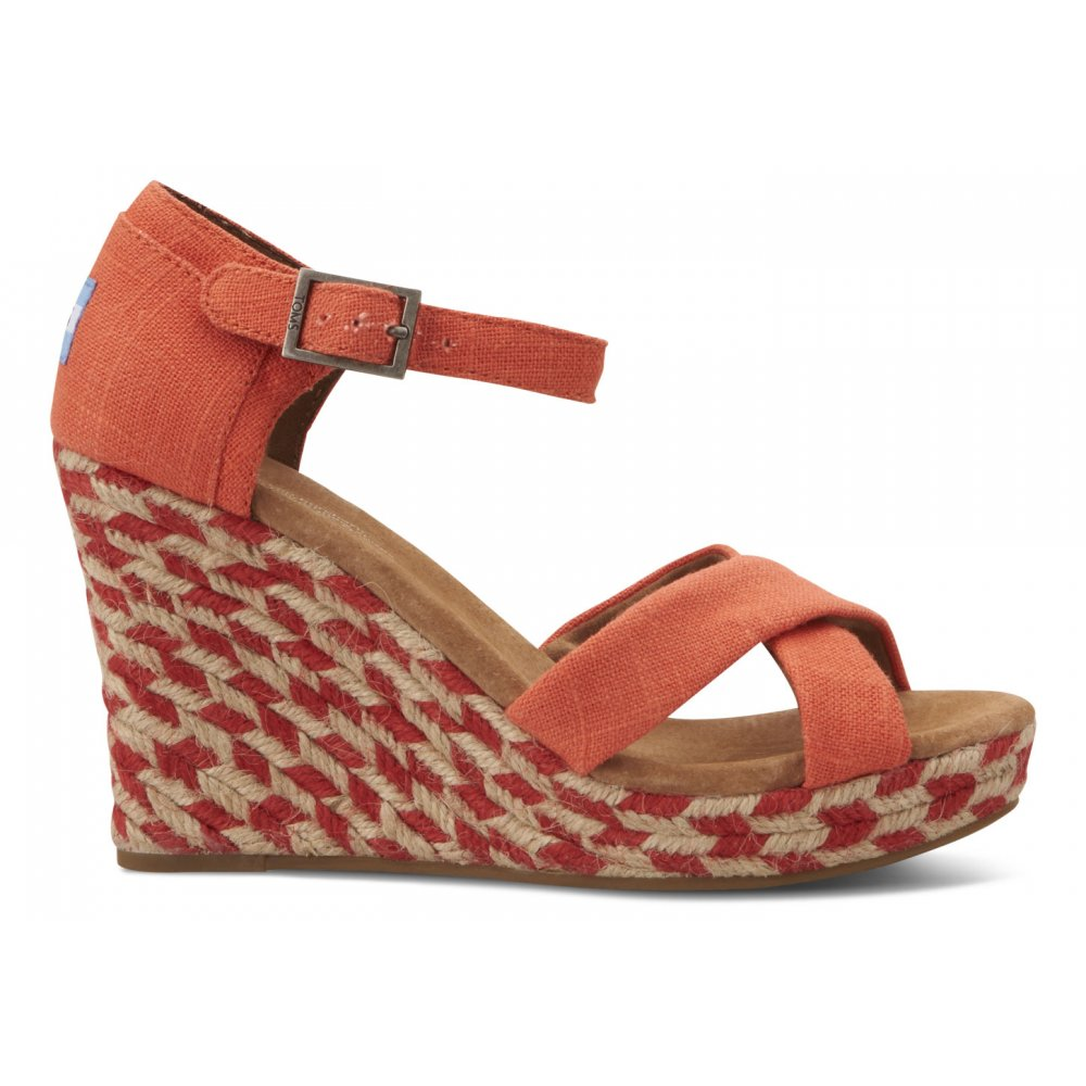 d2cd93394ce TOMS Mixed Rope Strappy Wedge Sandal Coral