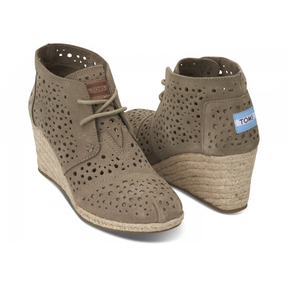 6f4fc8ccc54 TOMS Moroccan Cutout Desert Wedge Shoe Boot Taupe - TOMS from ...