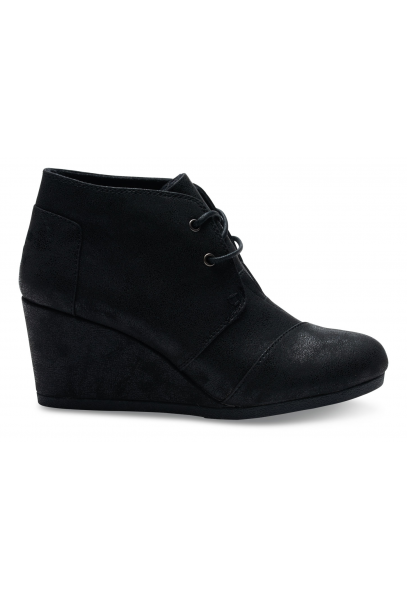 toms desert wedge boot black metallic toms from