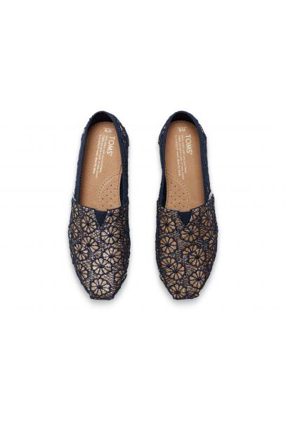 Toms Crochet Glitter Slip On Shoe Gold Navy Toms From Twistedfabric Uk