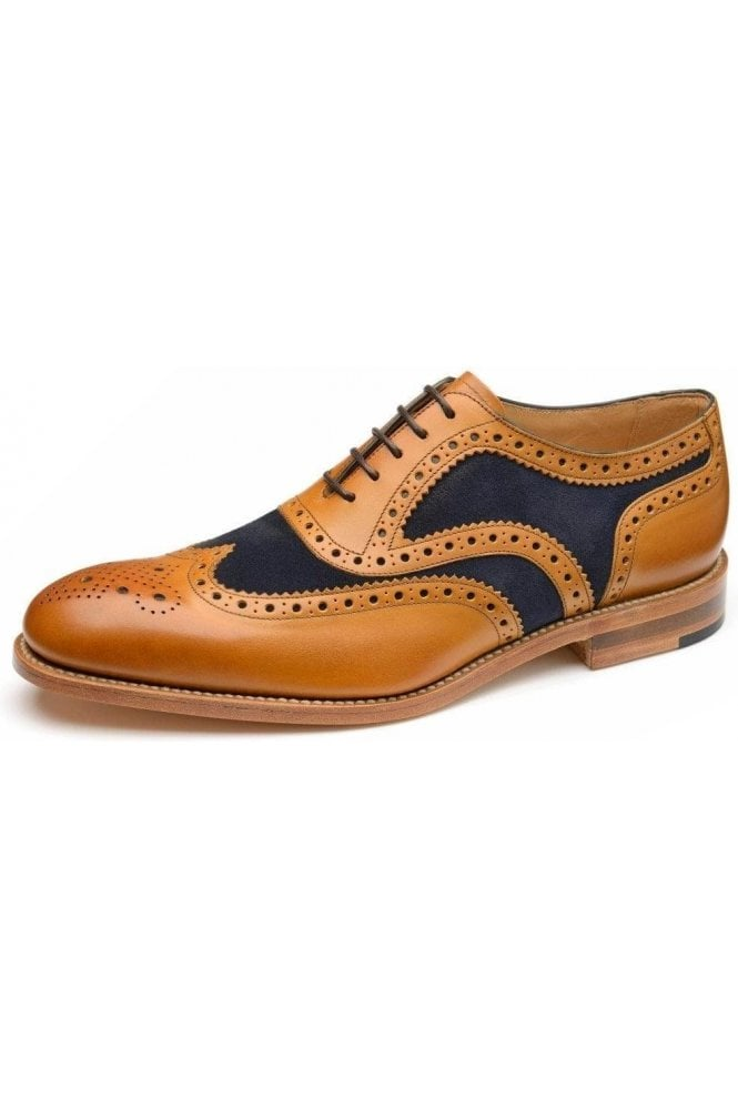 LOAKE Suede Spider Brogue Navy/tan