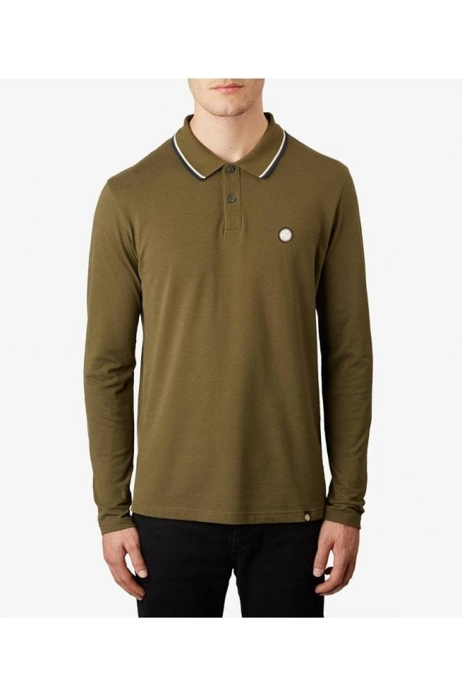 PRETTY GREEN Barton Ls Tipped Polo Mid Green