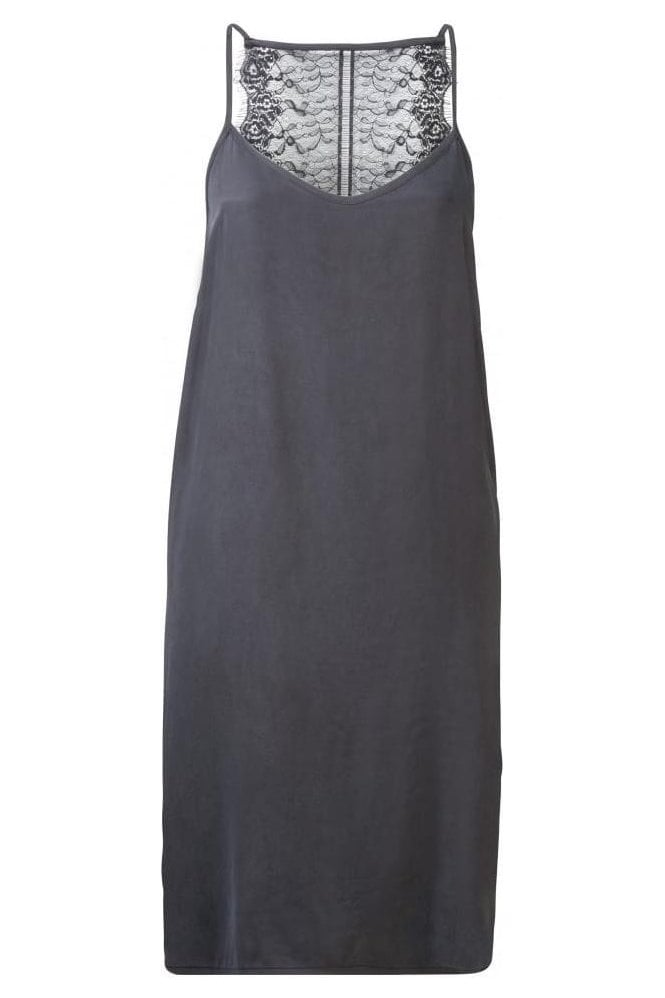 YAYA CUPRO DRESS WITH LACE INSERT AT BACK AND ADJUSTABLE STRAPS