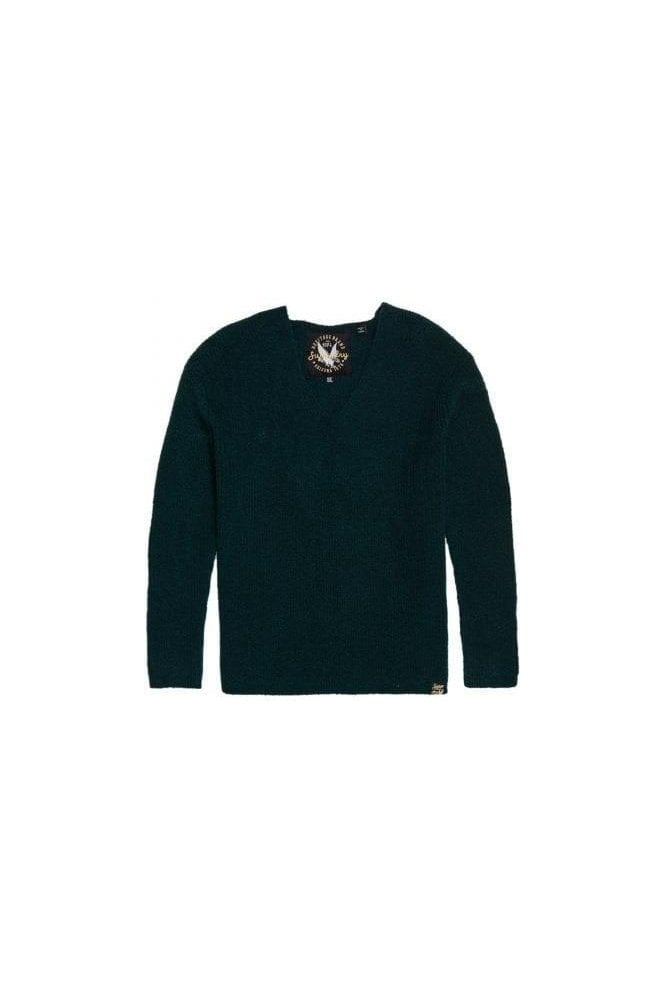 SUPERDRY Peyton Ribbed Vee Jumper Forest Green
