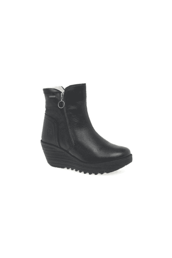 FLY LONDON GORETEX Warm Lined Yolk Wedge Boot Black