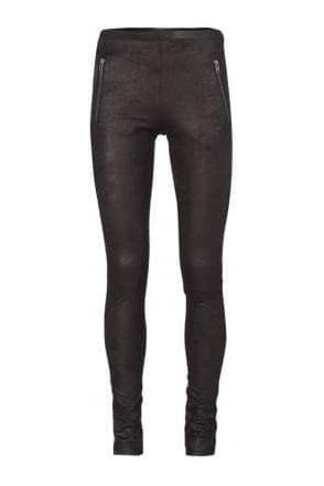 Faux Leather Zip Leggings Black