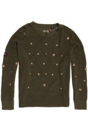 Superdry Star Cascade Jumper Military Olive