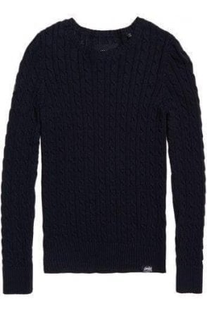 Superdry Croyde Cable Knit Soft Navy