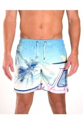 Palm Tree Swim Short Blue