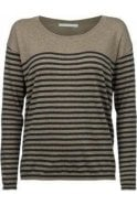 YAYA Organic Cotton Stripe Sweater Brown Green