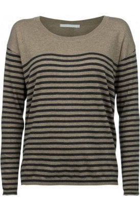 Organic Cotton Stripe Sweater Brown Green