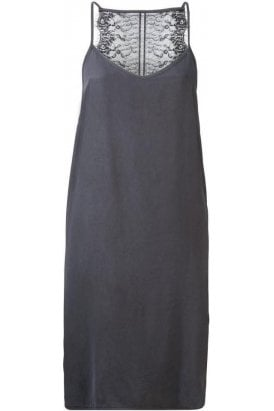 CUPRO DRESS WITH LACE INSERT AT BACK AND ADJUSTABLE STRAPS