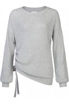 SWEATER WITH PUFF SLEEVE AND CORD AT SIDESEAM
