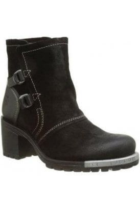 Oil Suede/rug Heel Lory Boot Black