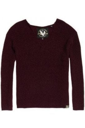 Superdry Peyton Ribbed Vee Jumper Buckle Burgundy