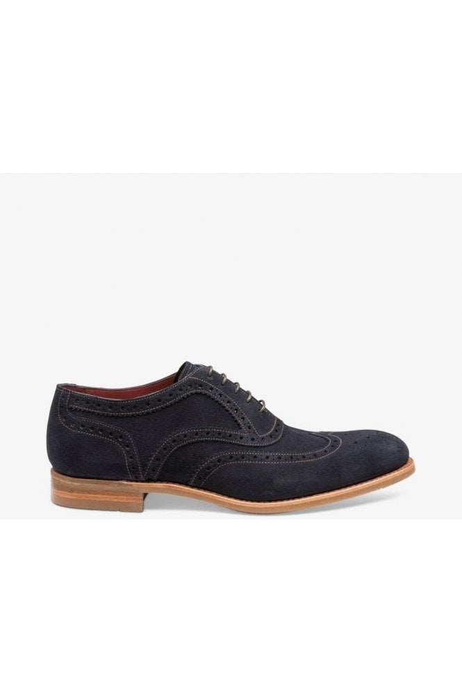 LOAKE Navy Suede Spider Brogue Navy