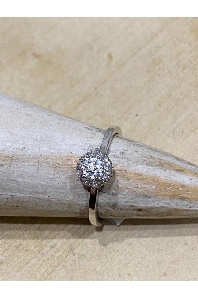 D&X LONDON Sparkle Ball Ring Silver