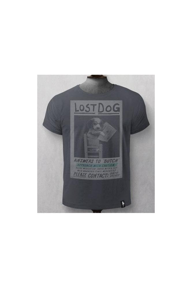 DIRTY VELVET Lost Dog Tee Charcoal