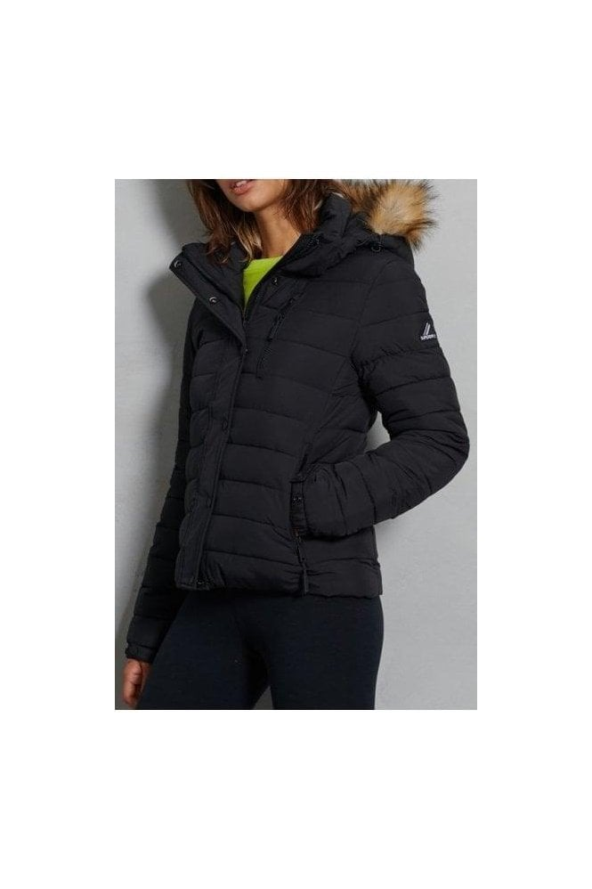 SUPERDRY Classic Faux Fur Fuji Black