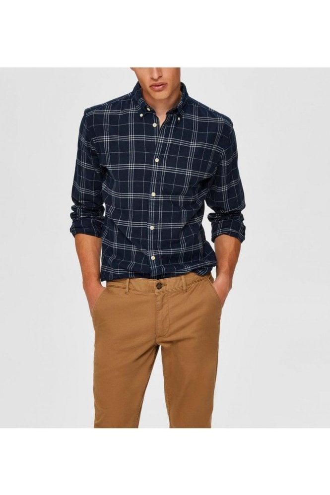 SELECTED HOMME Selected Slhslimflannel Ls Shirt Dark Blue
