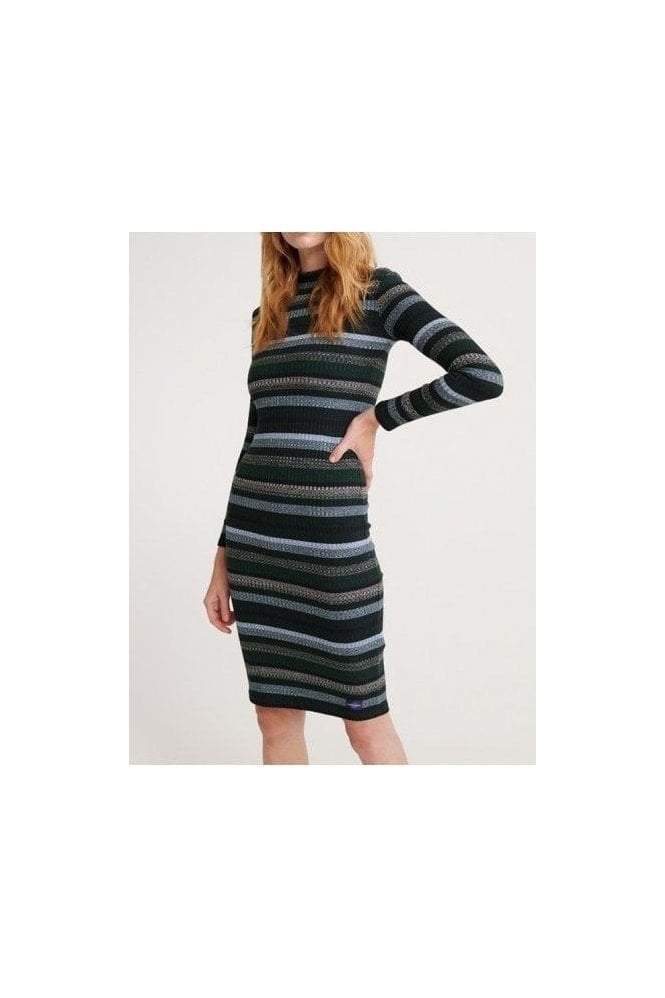 SUPERDRY Stripe Rib Dress Blue Stripe