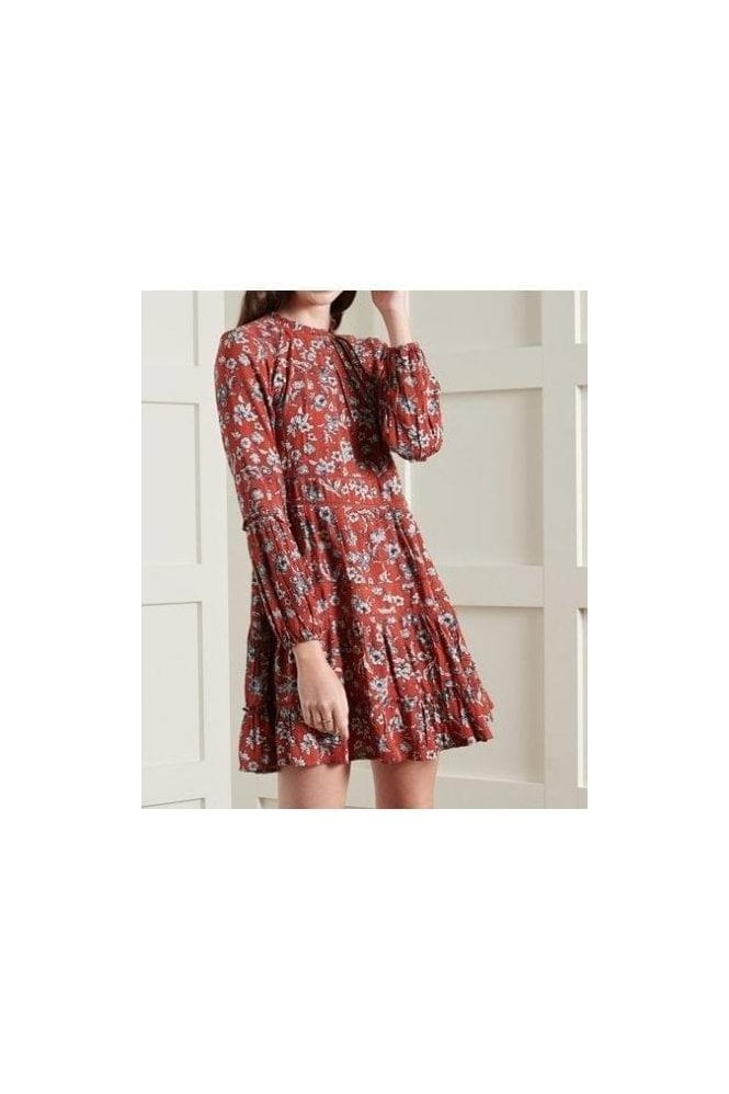 SUPERDRY Richelle Ls Dress Red Ditsy