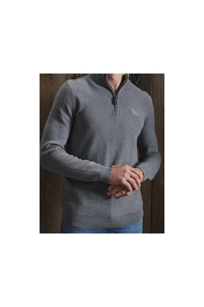 SUPERDRY Orange Label Henley Grey Marl