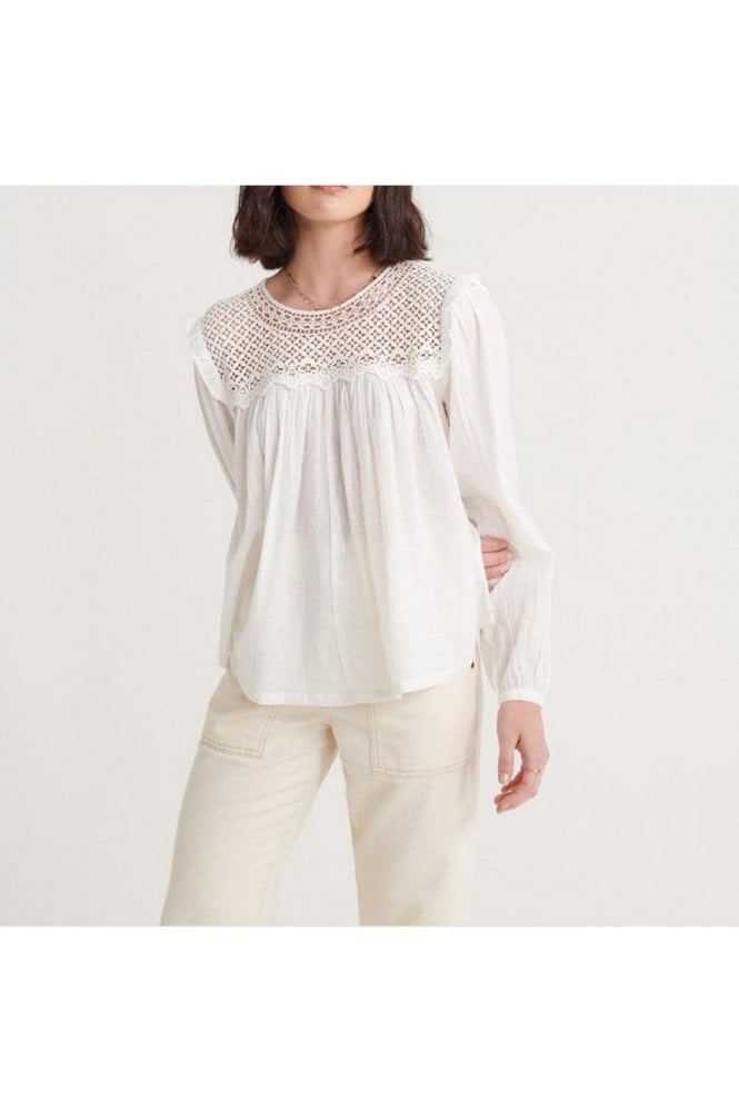 SUPERDRY Ellison Lace Ls Top Oyster