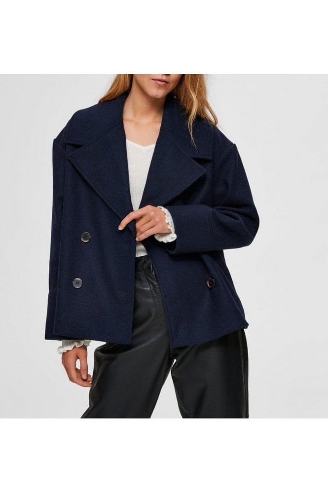 SELECTED FEMME Slfbillie Wool Jacket Maritime Blue