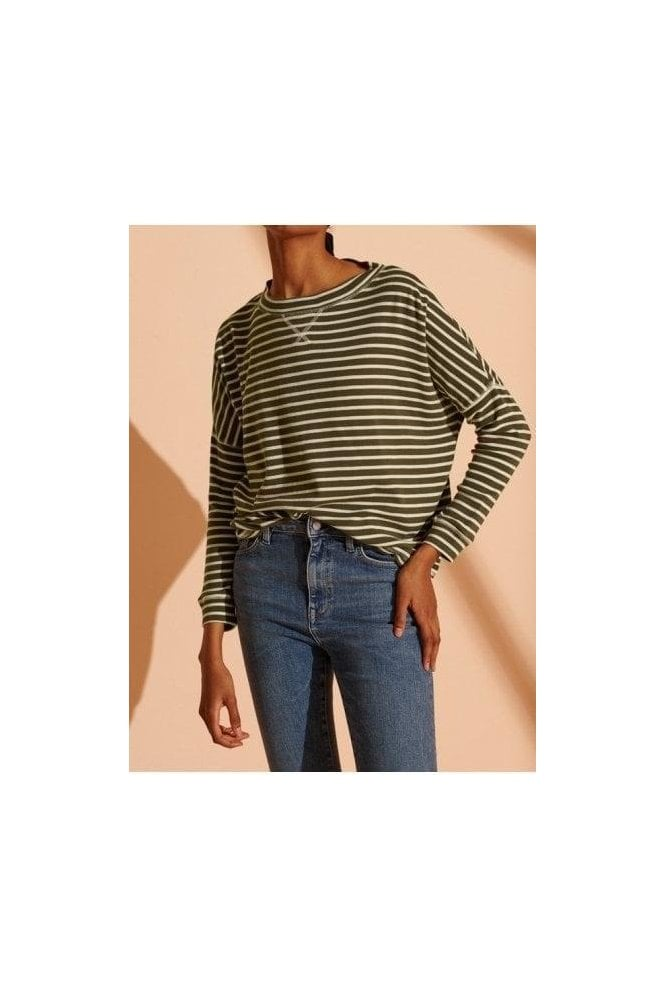 SUPERDRY Nyc Stripe Ls Top Army