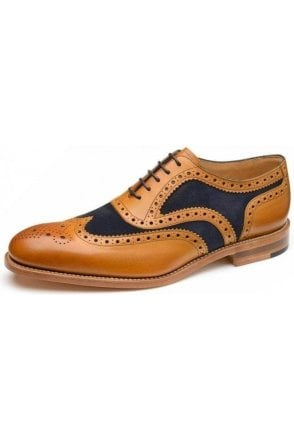 Suede Spider Brogue Navy/tan