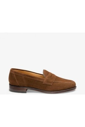 Loake Brown Suede Saddle Loafer Dark Snuff