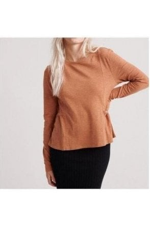 Superdry Peplum Rodeo Ls Top Burnt Camel