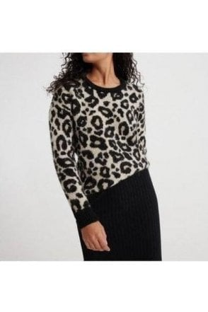 Superdry Lisa Leopard Jumper Brown Print