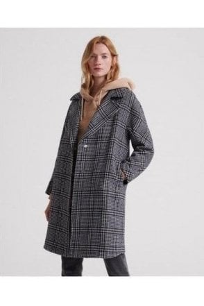 Superdry Koben Wool Coat Black Check