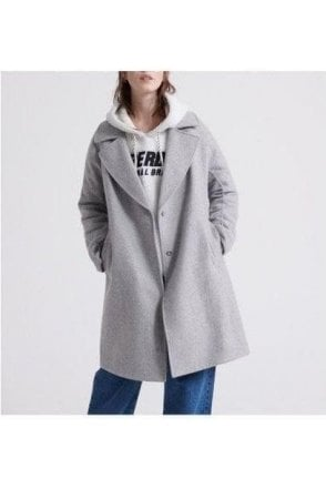 Superdry Koben Wool Coat Light Grey Marl