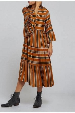 Stripe Dress Rust