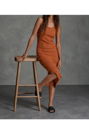 Sahara Knit Midi Dress Rust