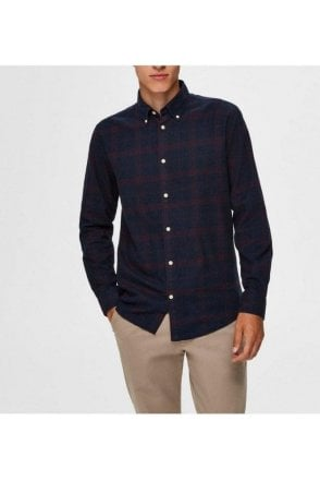 Selected Slhslimflannel Ls Shirt Dark Sapphire