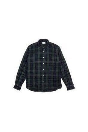 Hartford Paul Woven Shirt Blue Green Plaid