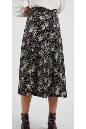 Louche Scatter Spray Midi Skirt Black