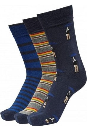 Selected Slh3 Pack Rocco Sock Giftbox Sky Captain