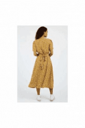 LOUCHE Petal Dot Midi Dress Mustard