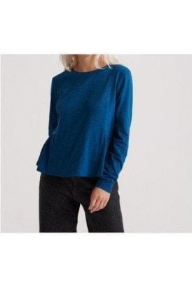 Superdry Peplum Rodeo Ls Top Rodeo Blue