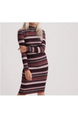 Superdry Stripe Rib Dress Red Stripe