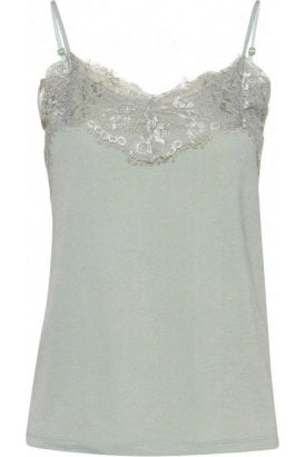 Like Cami Top Aqua Grey