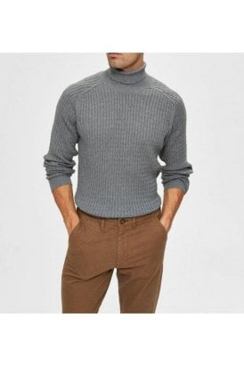 Selected Slhcarlos Roll Neck Medium Grey Melange