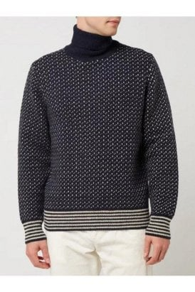 Casual Friday Karl Roll Neck Knit Navy Blazer