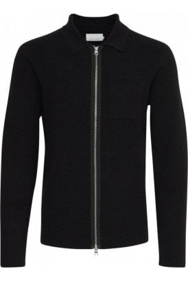 Casual Friday Kalle Knit Zip Cardigan Anthracite