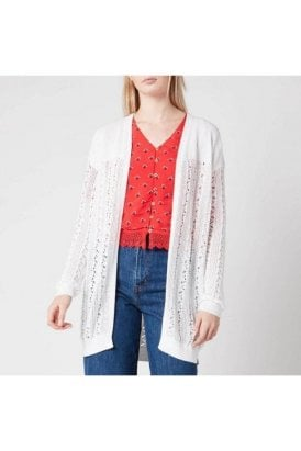 Superdry Bella Pointelle Cardigan Chalk White